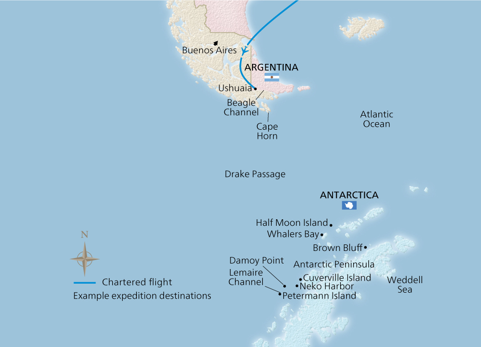 Map of the Antarctic Adventure itinerary