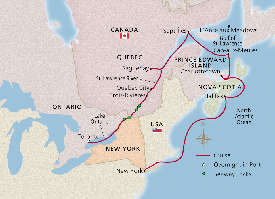 Map of the Canadian Discovery itinerary
