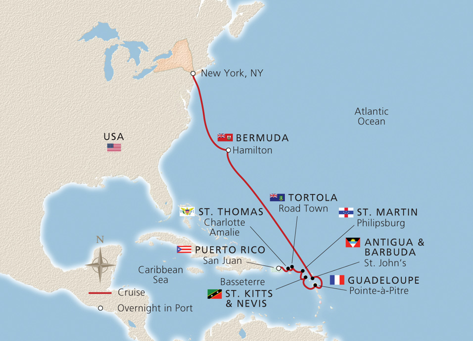 New york bermuda the west indies new york to san juan cruise west indies map map gumiabroncs Gallery