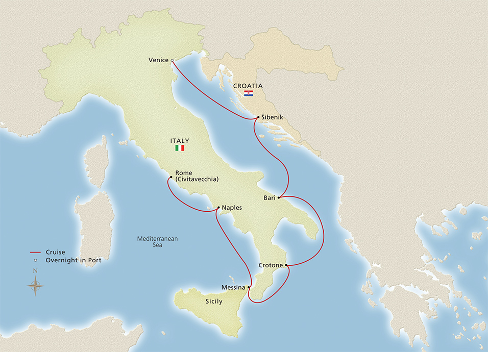 Italian sojourn rome to venice cruise overview italian sojourn map map gumiabroncs Image collections