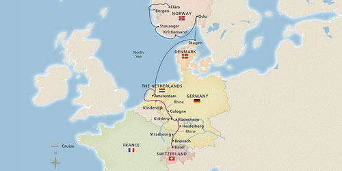 "Illustrated map of the path of the cruise ""Rhine and Viking Shores and Fjords"""