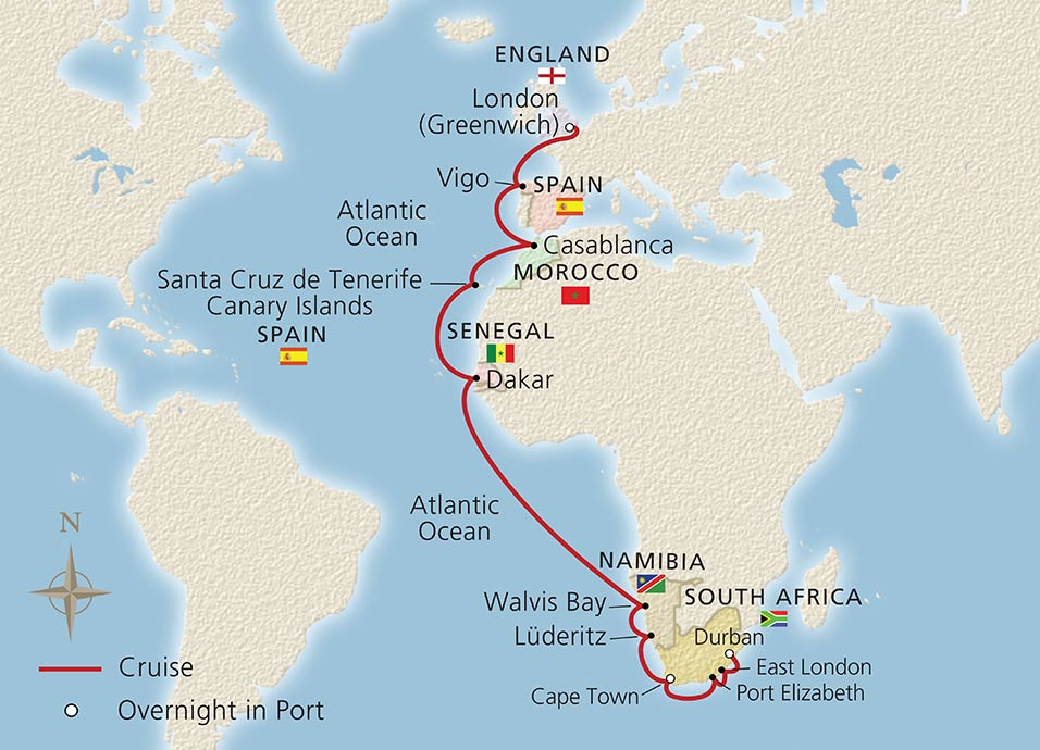 Spain And Africa Map.Along Africa S Western Shores Ocean Cruise Overview Viking