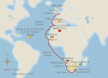 Map of Along Africa's Western Shores itinerary