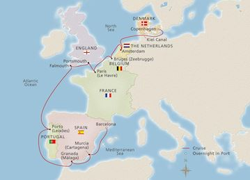 Map of Along Europe's Western Coast itinerary