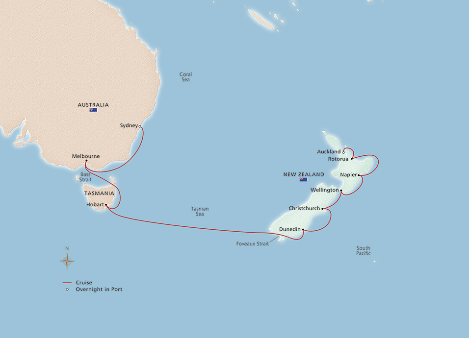 Australia To New Zealand Map.Australia New Zealand Sydney To Auckland Cruise Overview