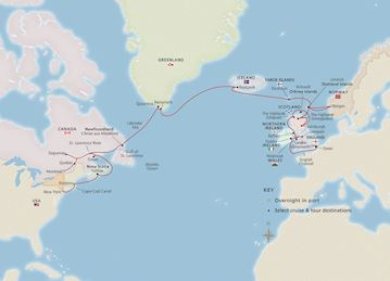 Map of British Isles to Eastern Seaboard itinerary