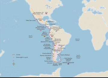Map for Exploring the Americas itinerary