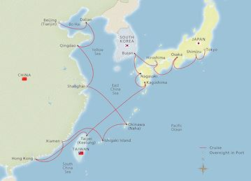 Map of Far East Explorations itinerary