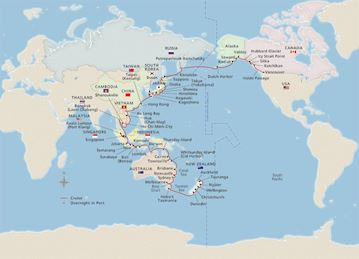 Map of Grand Pacific Explorer itinerary