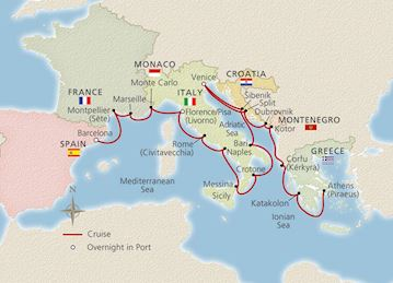 Map Of Southern Spain And France.Mediterranean Cruises Viking Ocean Cruises