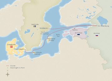 Russia & the Baltic Sea cruise map route