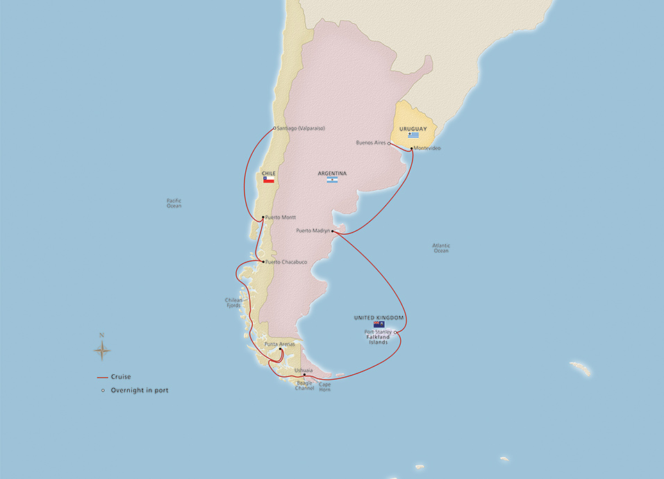 Cape Horn On South America Map.South America Around Cape Horn Ocean Cruise Overview Viking