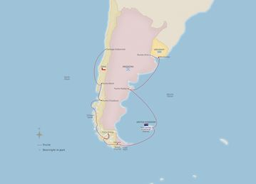 Map of South America & Around Cape Horn itinerary