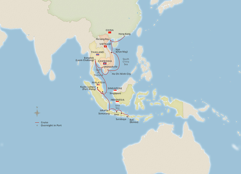 Map Of China And Southeast Asia.Southeast Asia Hong Kong To Bali Cruise Overview