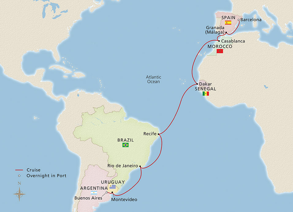 Map of Southern Atlantic Crossing itinerary
