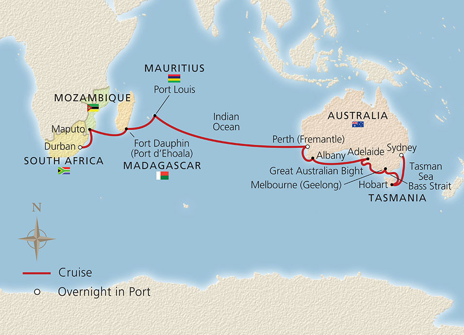 Southern Australia To South Africa Ocean Cruise Overview