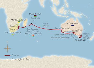Map of Southern Australia to South Africa itinerary