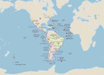 Map of The Americas & the Chilean Fjords itinerary