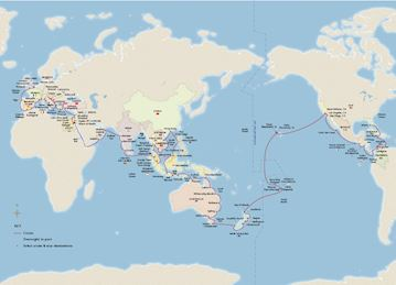 Map of the 2021 Viking World Cruise itinerary