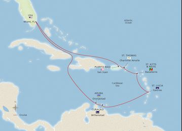 Map of the Iconic Southern Caribbean itinerary