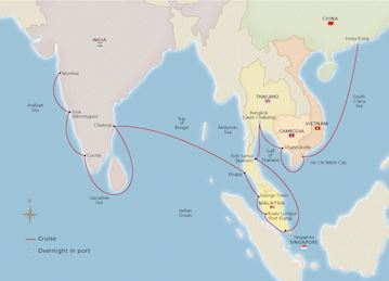 Map of the Jewels of Southeast Asia itinerary