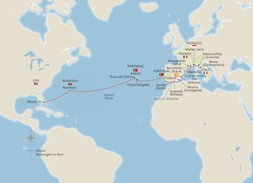 Map of Mediterranean & Atlantic Crossing itinerary