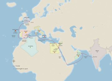 Mumbai to Mediterranean Passage map