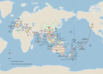 Map of 2020 Viking World Wonders itinerary