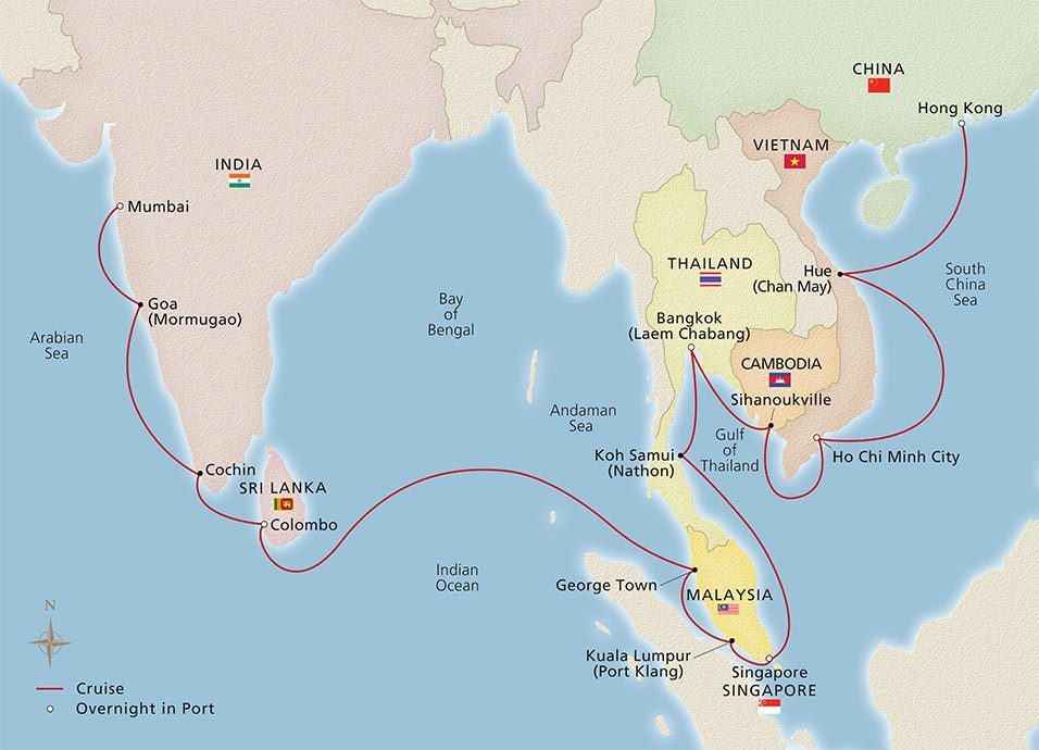 Map of the Asia & India Artistry itinerary