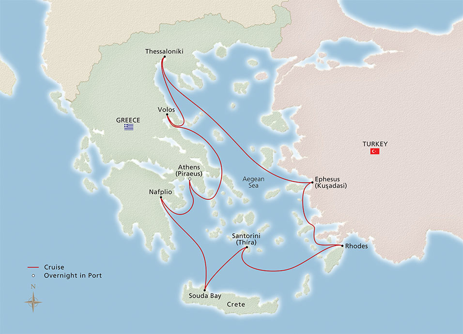 Map of Greek Odyssey itinerary