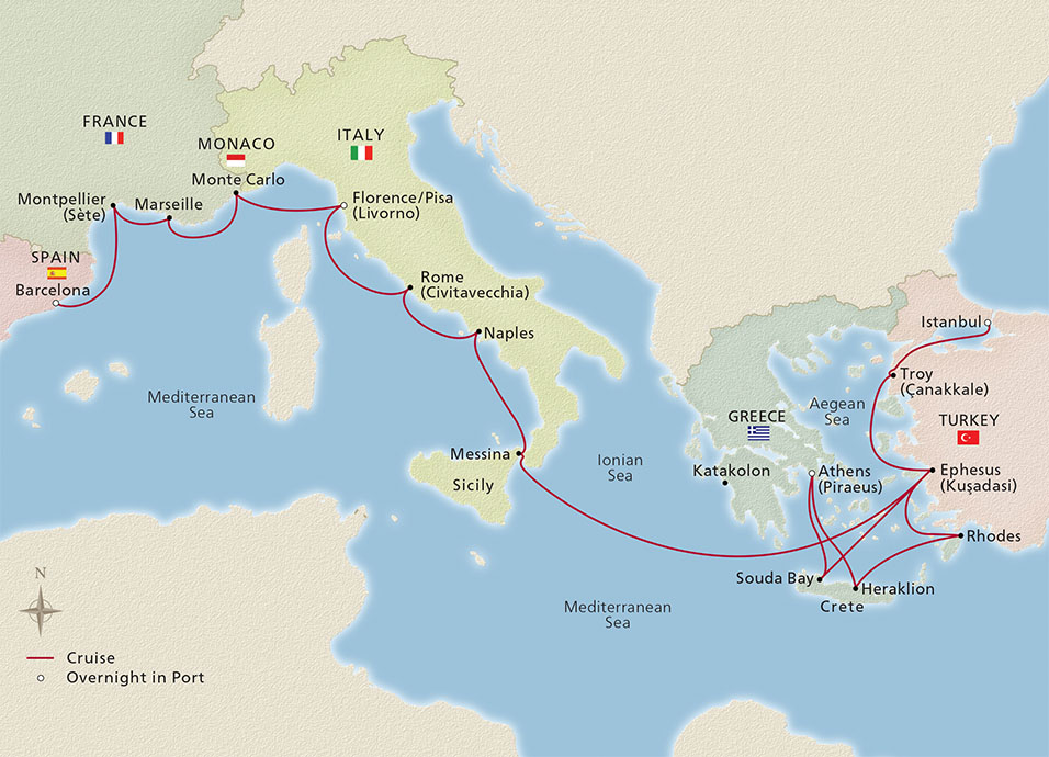 Map of the Iconic Mediterranean Treasures itinerary