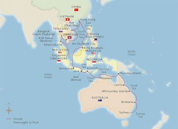 Map of the Jewels of Australia & Asia itinerary