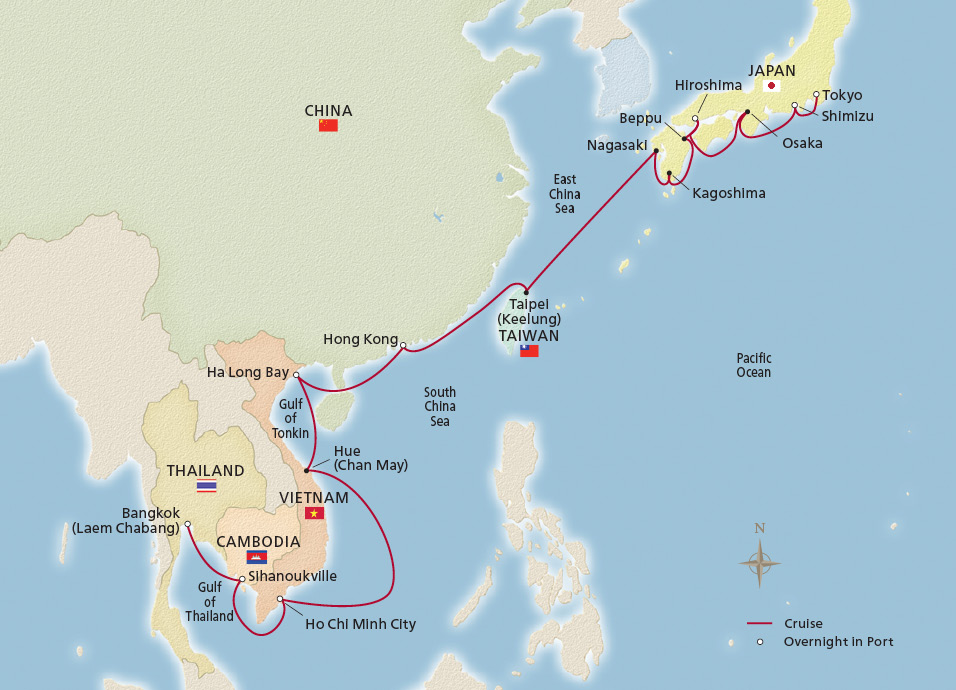 Map of Southeast Asia Horizons itinerary
