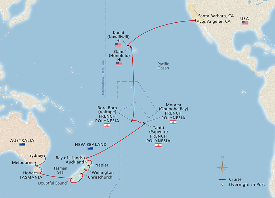 Map of the Tropical Treasures of the Pacific itinerary
