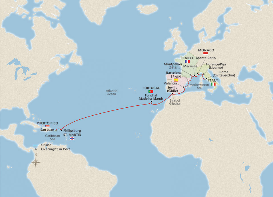 Map of West Indies & Western Mediterranean itinerary
