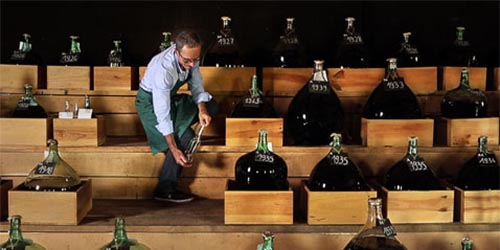 A man walking amongst bottles of Armagnac being aged.