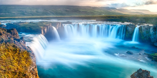 Godafoss Waterfall, a wall of water pouring together.