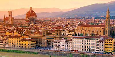 Aerial view of Florence, Italy at dawn