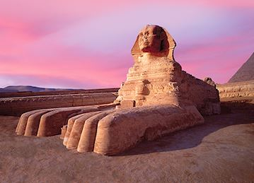 Sphinx against pink sky