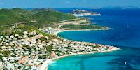Aerial view of Philipsburg in St. Martin