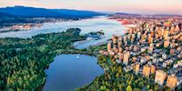 Aerial view of Stanely Park in Vancouver, Canada
