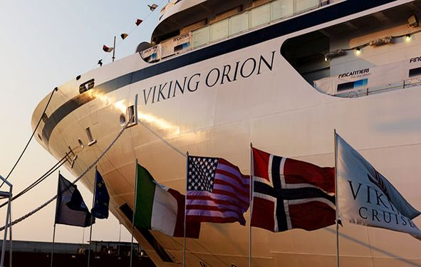 Bow of Viking Orion at dawn