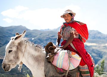 A woman riding a donkey