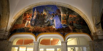 A mural painted inside a Fransican Monastery in Dubrovnik.