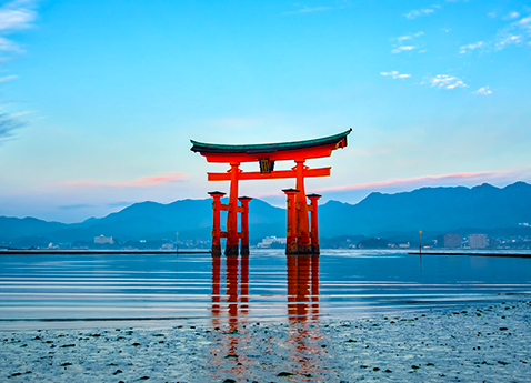 Itsukushima Floating Torii Gate in Hiroshima, Japan