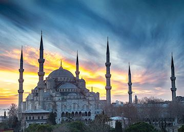 The Blue Mosque at sunset in Istanbul, Turkey