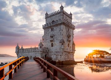 Tower of Belem at sunset in Lisbon, Portugal