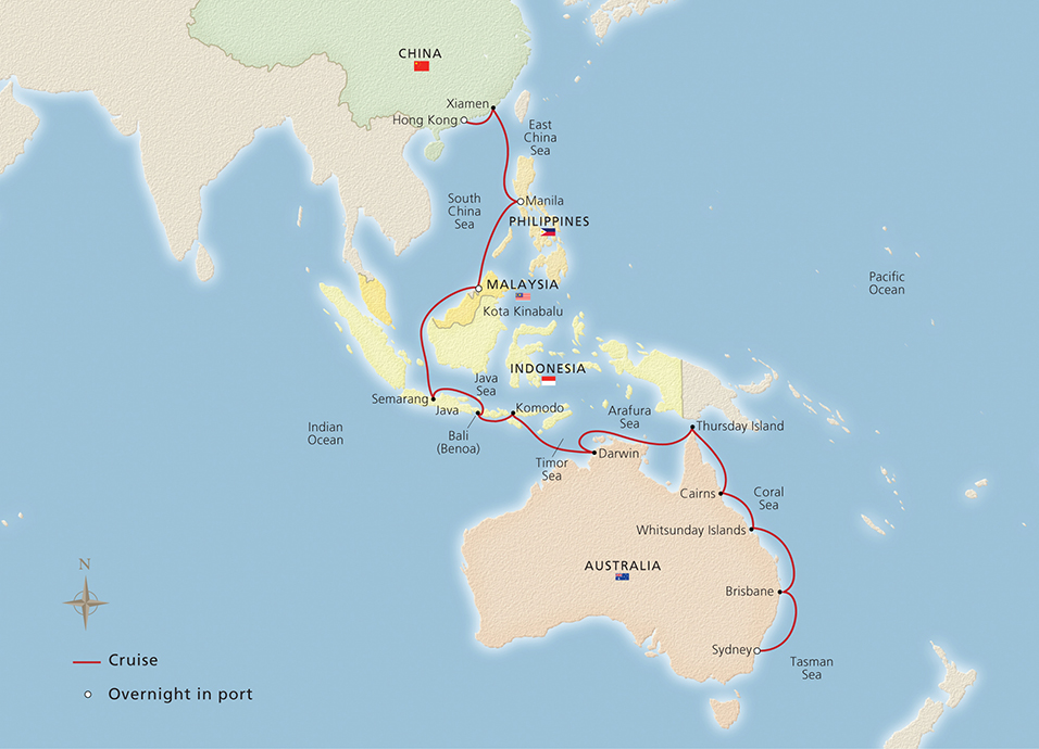 Map Of Asia Australia.Australia Indonesia Asia Sydney To Hong Kong Cruise Overview