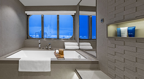 Bathroom sink of Explorer Suite stateroom