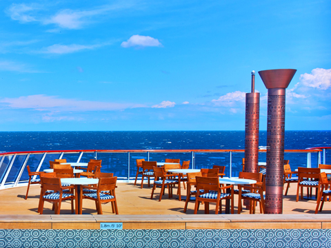 The Aquavit Terrace, outdoor dining on the Viking Ocean ship.